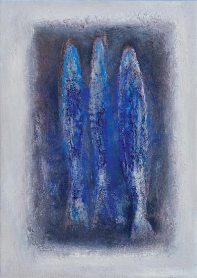 blauwe vissen - 70x50 - olieverf