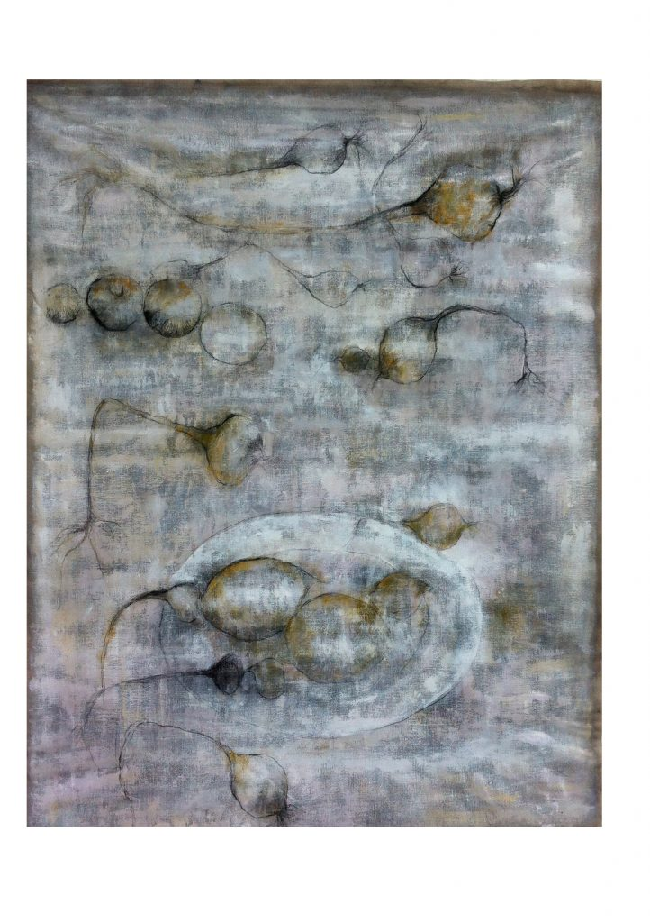 zwevende uien - 158x120 - acryl